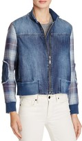 Bella Dahl Plaid Sleeved Denim Bomber Jacket - 100% Bloomingdale's Exclusive