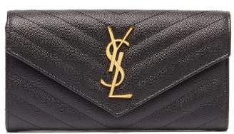 Saint Laurent Monogram Quilted-leather Wallet - Womens - Black