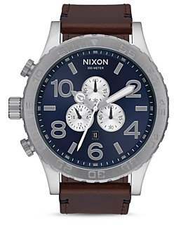 Nixon 51-30 Leather Strap Watch, 51mm