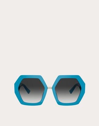 Valentino Hexagonal Oversized Vlogo Signature Acetate Sunglasses Women Brown Acetate 100% OneSize