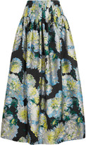 ADAM by Adam Lippes Pleated floral-jacquard maxi skirt