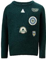 John Lewis Boys' Badge Knitted Jumper, Green