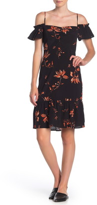 Dress Forum Floral Cold Shoulder Flounce Midi Dress