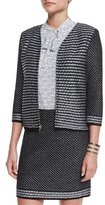 St. John Fiore Diamante Knit Zip Jacket, Caviar/White