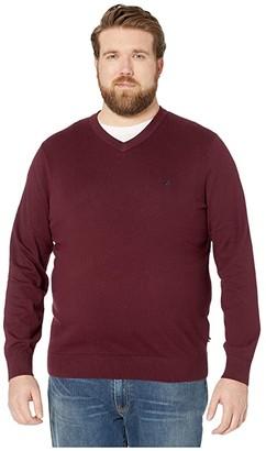 Nautica Big Tall V-Neck Navtech Knit Sweater (True Black) Men's Sweater