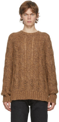 Acne Studios Brown and Burgundy Cable Knit Sweater