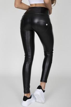 Hugz Jeans Black Faux Leather High Waist