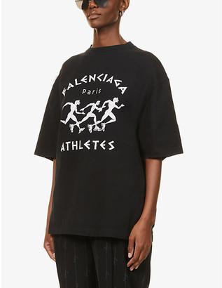 Balenciaga Athletes logo-print cotton-jersey T-shirt
