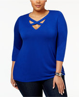 INC International Concepts Plus Size Cutout Top, Only at Macy's