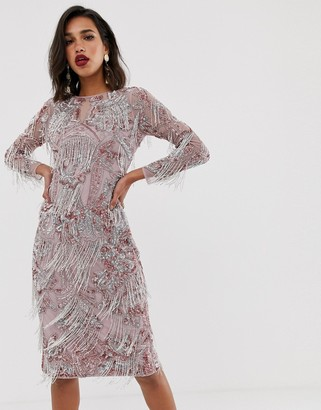 ASOS EDITION floral midi fringe dress