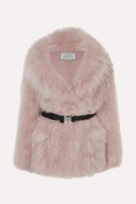 Prada Belted Goat Hair Coat - Blush