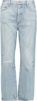 Frame Le Original cropped distressed mid-rise straight-leg jeans