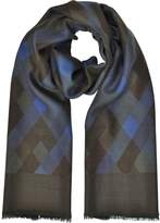 Laura Biagiotti Diamond Printed Wool, Silk and Cashmere Long Scarf