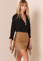 Missy Empire Etta Camel Suede Ring And Tassel Detail Mini Skirt