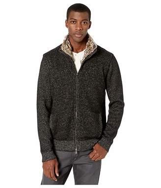 John Varvatos Collection Classic Fit Shearling Zip Jacket Y2690V3 (Black) Men's Clothing