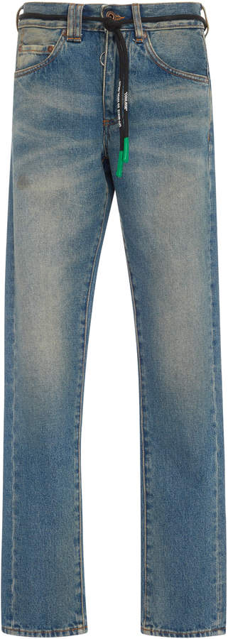 Off-White Distressed Slim-Fit Jeans