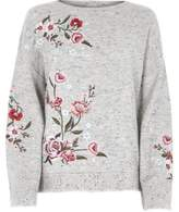 River Island Womens Grey floral embroidered jumper