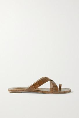PORTE & PAIRE Croc-effect Leather Sandals - Tan