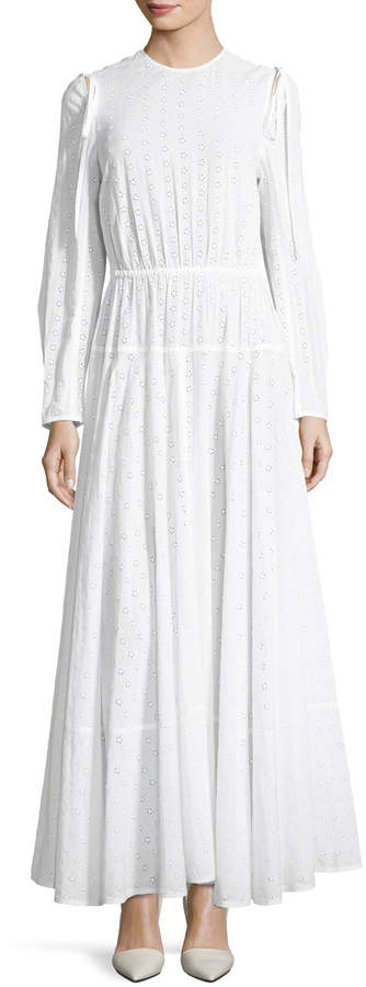 Calvin Klein Crewneck Open-Back Broderie Anglais Long Dress