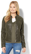 New York & Co. Faux-Suede Zip-Accent Moto Jacket