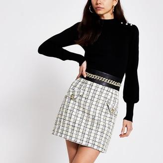River Island Cream boucle check chain waist mini skirt