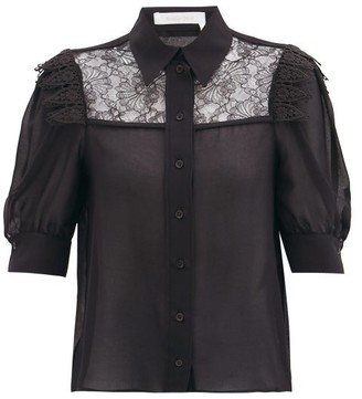 See by Chloe Lace-panelled Georgette Blouse - Black