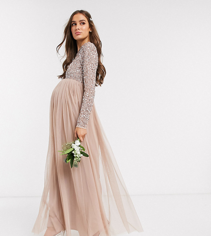 Maya Maternity Bridesmaid long sleeve maxi tulle dress with tonal delicate sequin overlay in taupe blush