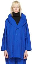 Issey Miyake Blue Crumpled Grid Coat