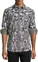 Robert Graham Lews Printed Long-Sleeve Shirt, Charcoal