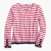 J.Crew Grosgrain ribbon striped T-shirt with nautical buttons