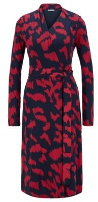 HUGO BOSS Slim Fit Dress In Stretch Jersey With Pony Print - Patterned