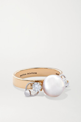 Delfina Delettrez 18-karat Yellow And White Gold, Pearl And Diamond Ring