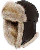 Armani Junior Faux Leather & Faux Fur Hat