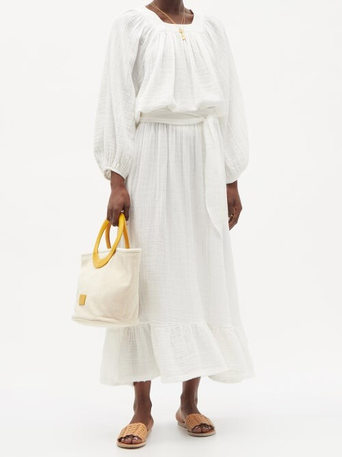 Thumbnail for your product : ZEUS + DIONE Scorpio Leather-handle Canvas Tote Bag - Yellow White