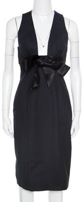 DSQUARED2 Black Cotton Satin Bow Detail Plunge Neck Sleeveless Dress M