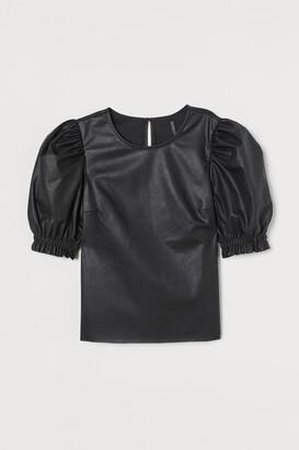 H&M Faux Leather Blouse - Black