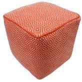 nuLoom Handmade Casual Living Indian Diamond Orange Cube Pouf