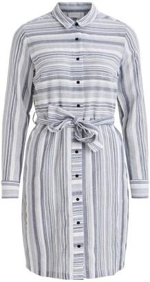 Vila Striped Cotton Shirt Dress with Tie-Waist