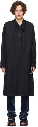 Giorgio Armani Navy Canvas Trench Coat