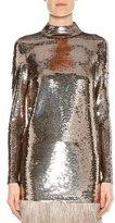 Tom Ford Mock-Neck Liquid Sequin Top, Pewter