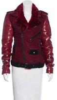 BLK DNM Mongolian Fur-Trimmed Leather Jacket