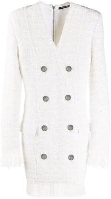 Balmain Feather-Trimmed Tweed Blazer Dress