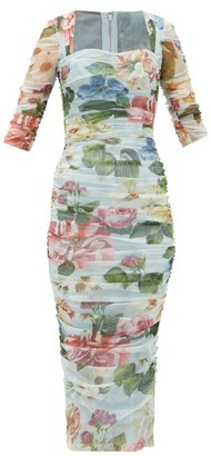 Dolce & Gabbana Ruched Floral-print Tulle Dress - Womens - Blue Print