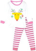 DD-CM Boys Girls Striped Print Two Piece Christmas Pajama Set