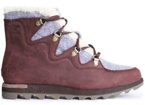 Sorel Sneakchic Nubuck And Felt Snow Boots