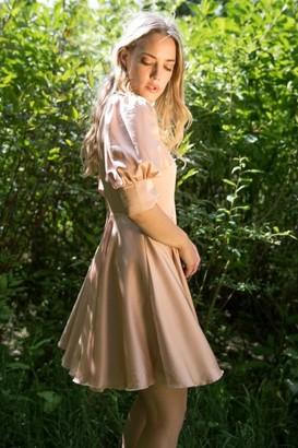Liena Satin Wrap Mini Dress with Keyhole in Nude