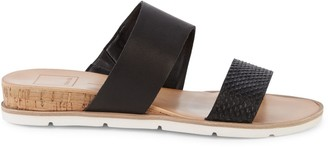 Dolce Vita Vala Snakeskin-Embossed Leather Wedge Slides
