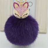 XY Fancy Real Fox Fur Ball with Artificial Fox Head Inlay Pearl Rhinestone Key Chain for Womens Bag or Cellphone or Car Pendant