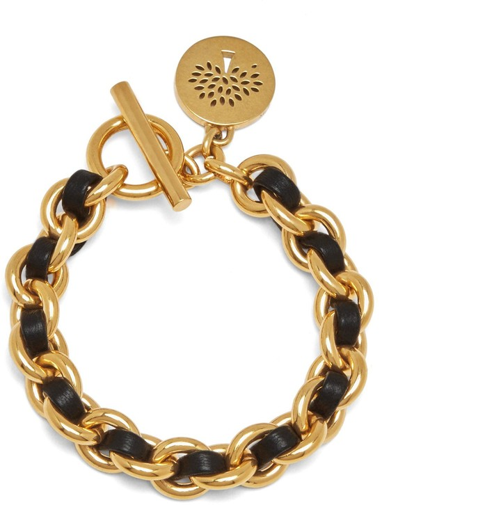 Mulberry Medallion Leather Chain Bracelet Black and Gold