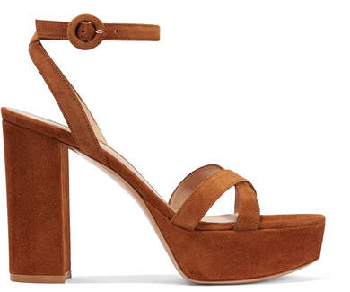 Gianvito Rossi 105 Suede Platform Sandals - Camel